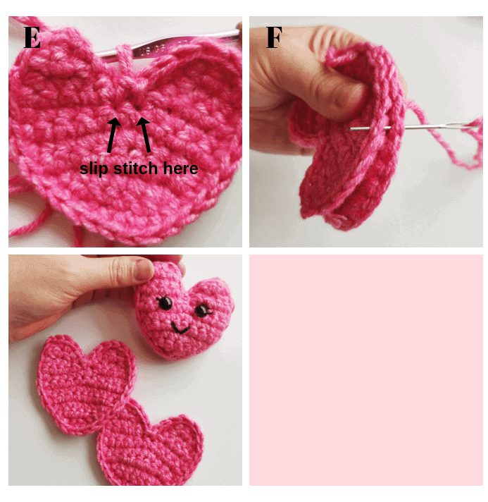 Pink crochet yarn collage showing slip stitch technique