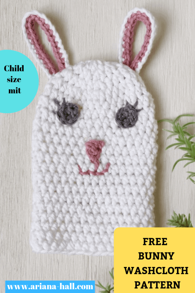 Bunny wash cloth for kids crochet pattern