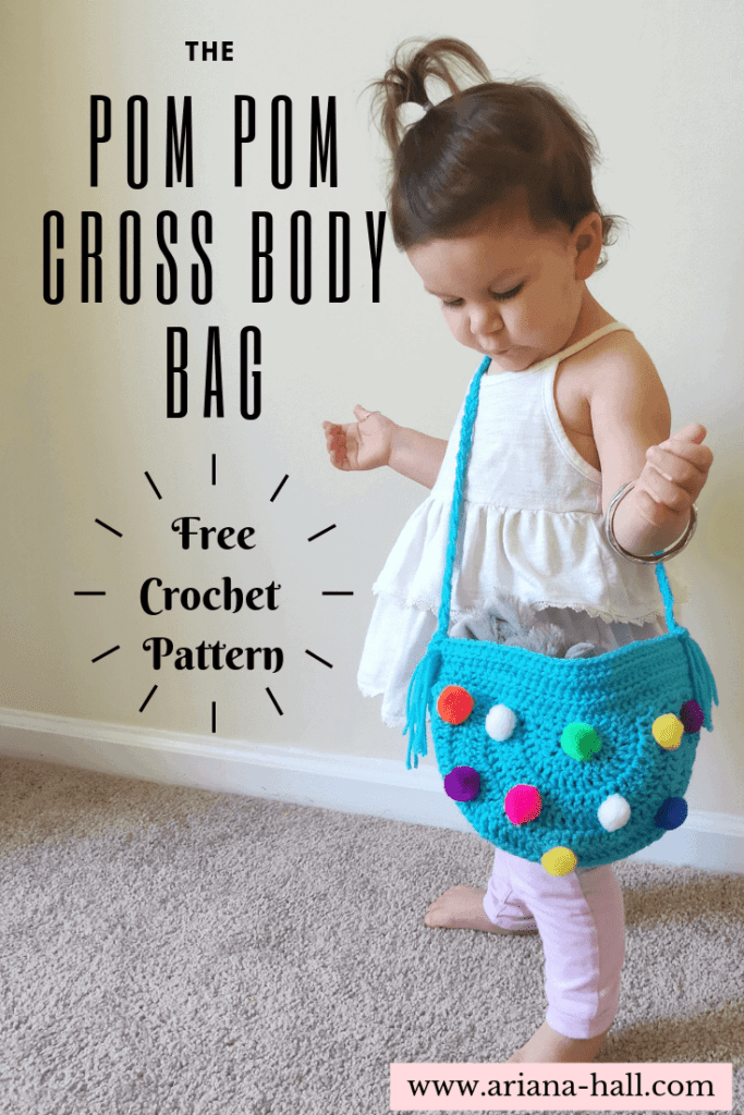 Little girl wearing a pom-pom bag with graphic arts standout advertisement