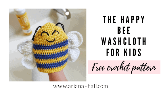 The happy bee wash cloth for kids in yellow and blue with cute face and white wings and black antennas