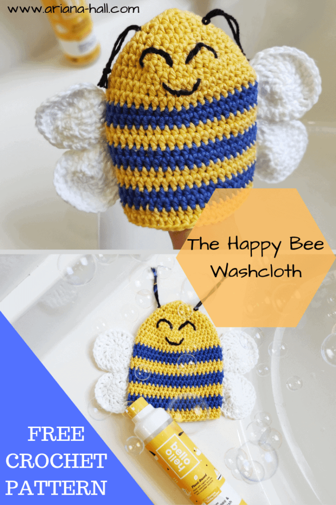 The happy bee wash cloth with soap bubble in bath tub