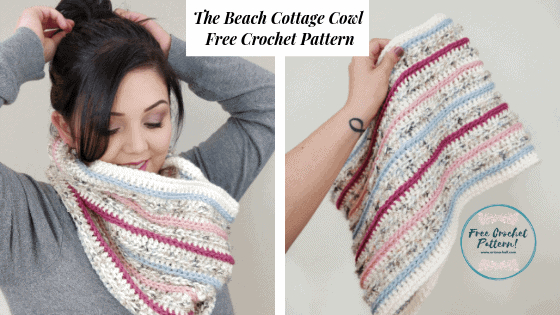 The beach cottage cowl crochet pattern in two photos being worn and being held up in the air