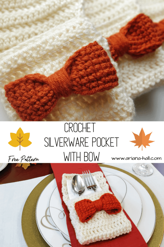 Crochet silverware pocket close up of fall themed decoration bow