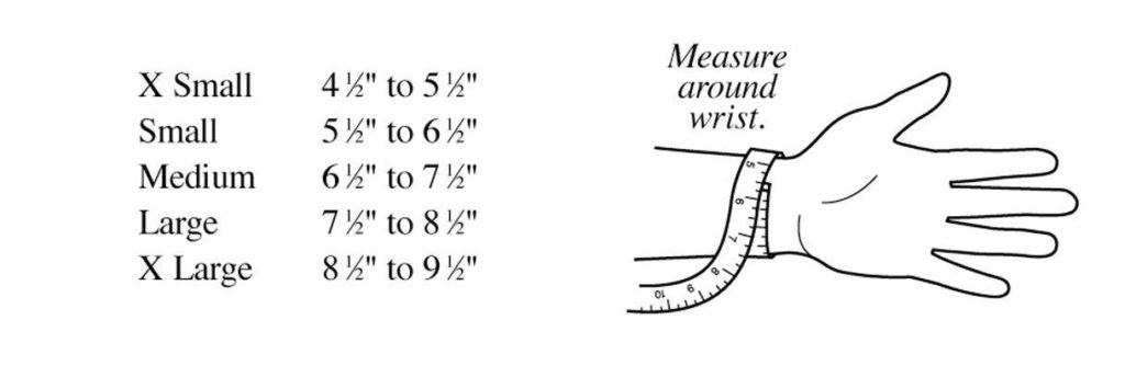 Graphic showing measuring widths around various size hands