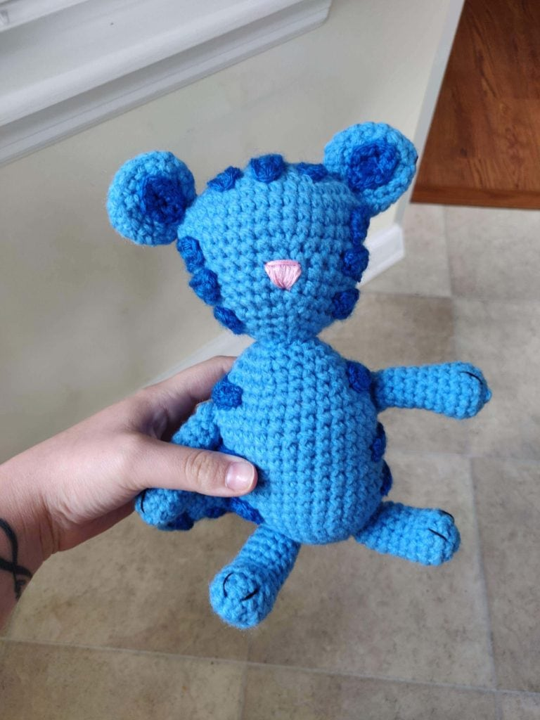 Pink nose added to unfinished crochet Tigey doll