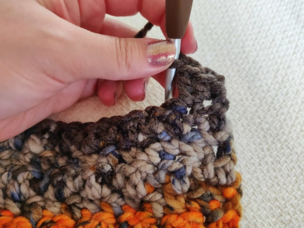 Close up of stitch done on the crochet kids scarf