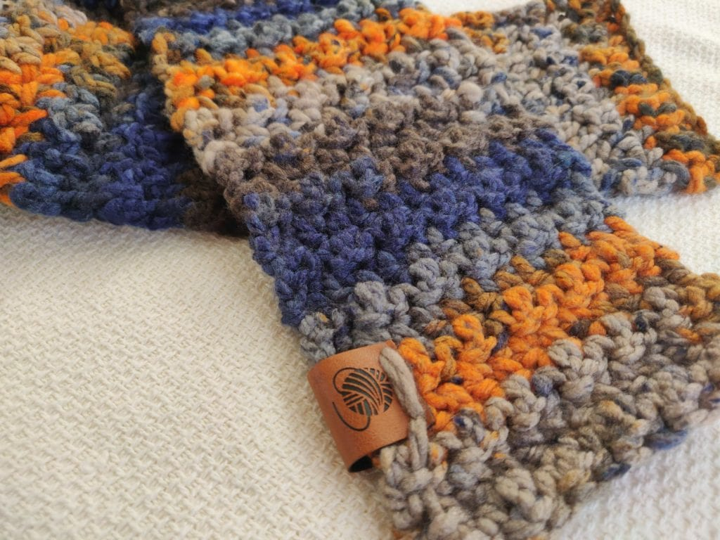 Kids scarf in blue, orange, and gray