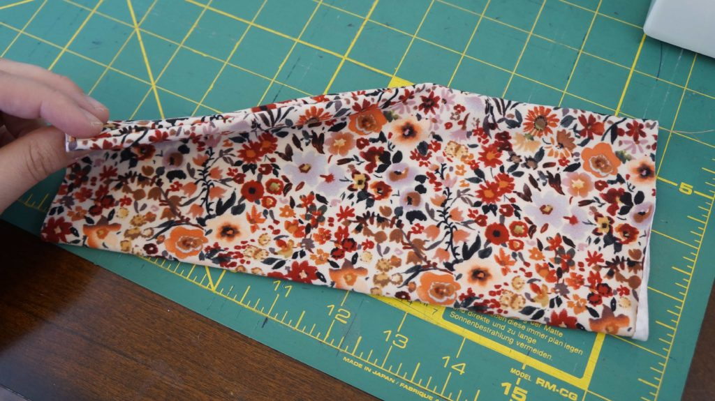 Pinched fabric with flower pattern