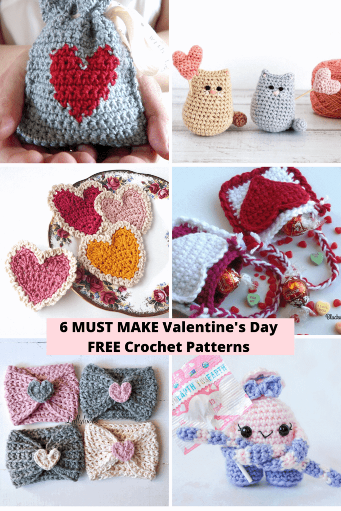 Collage of 6 different valentines-themed crochet projects