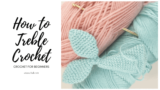 How to treble crochet with pink and blue yarn.