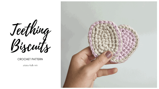 Two neutral color crochet oval shaped teething biscuits.