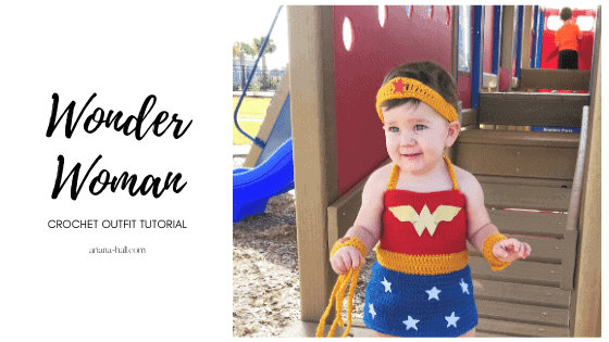 Wonder woman crochet outfit handmade being worn by a small child.