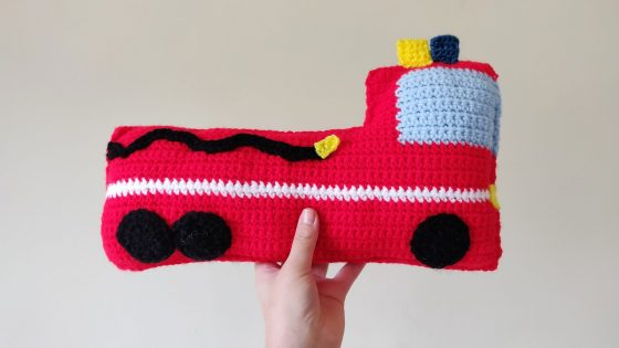 Crochet fire truck plush