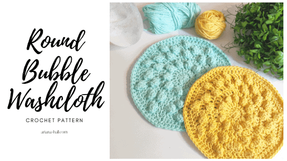 Two washcloth's. One blue and yellow round with bobble crochet stitches.