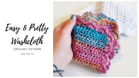 Easy and pretty crochet washcloth in multi colored cotton yarn.