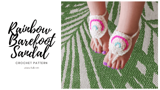 Rainbow barefoot sandals on a toddler.