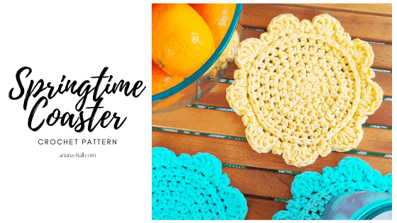 Yellow crochet coaster by ariana hall.