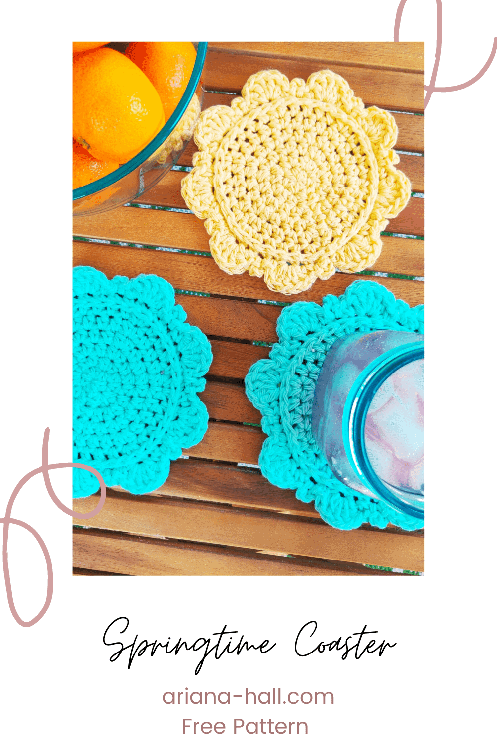 Springtime crochet coaster in yellow and blue laying on a outdoor wooden table.