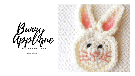 Crochet bunny applique face and ears.