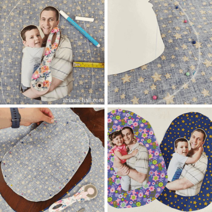 Four photo collage with step by step instructions on how to cut out a pillow shape.