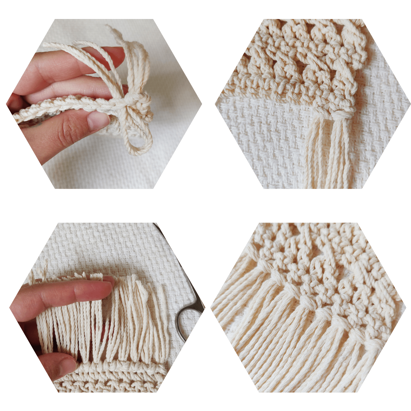 Step by step fringe with yarn how to.