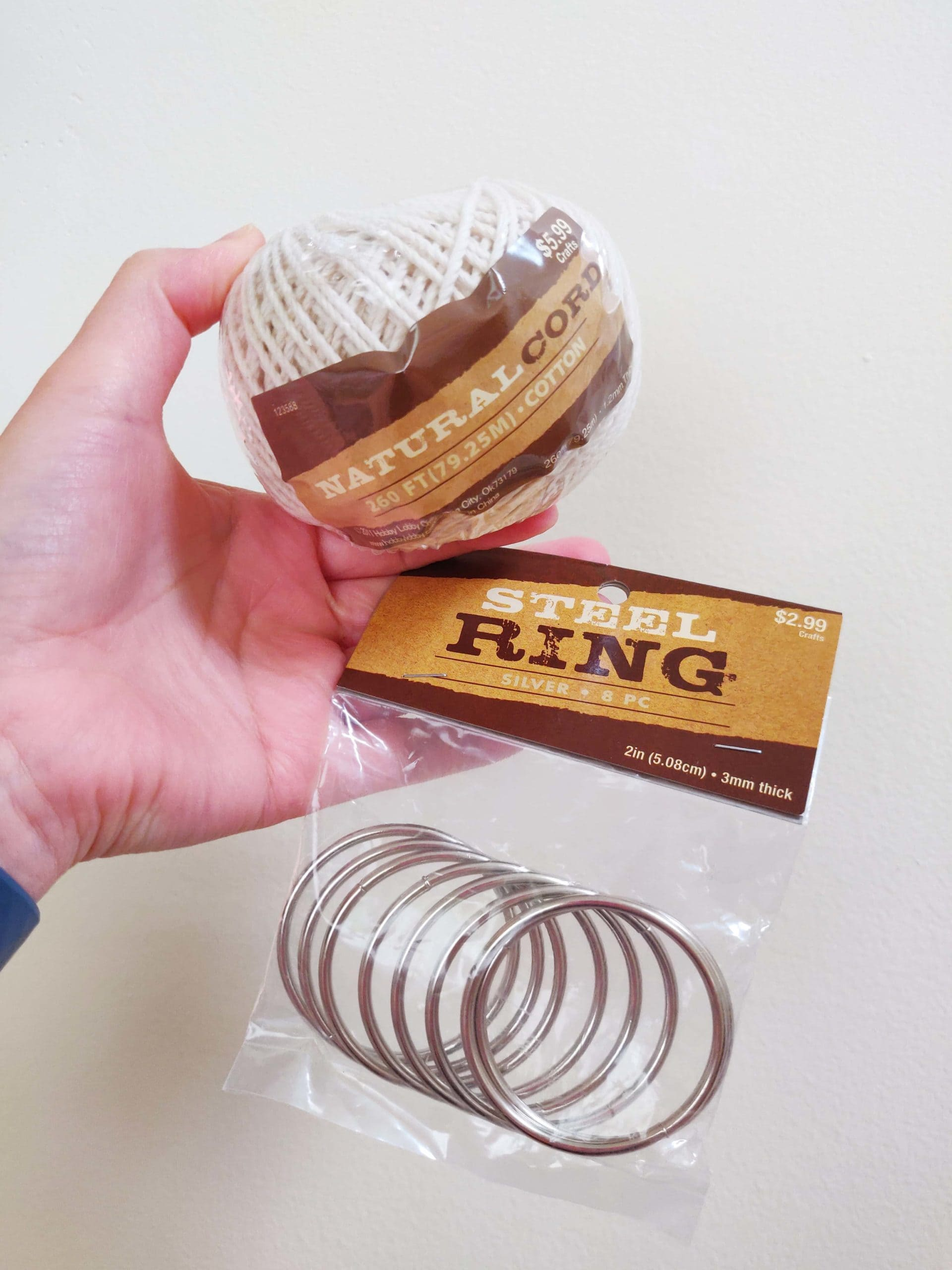 cotton natural cord and metal rings in package