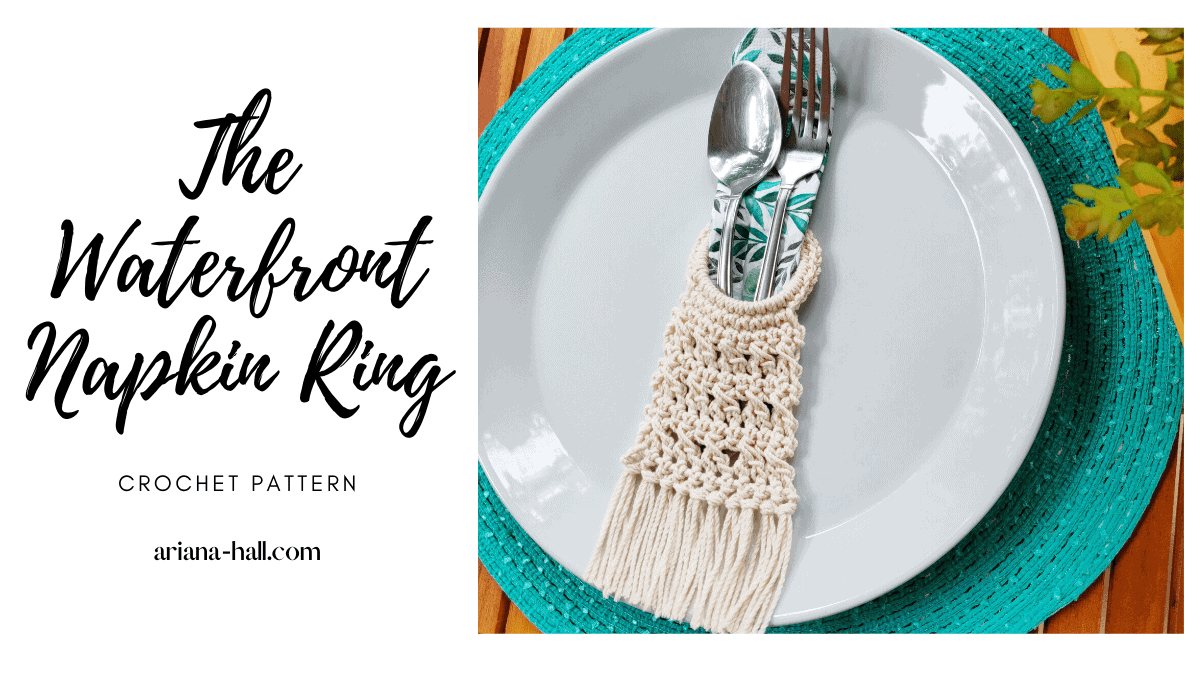 Crochet napkin ring on a white plate and blue plate mat.