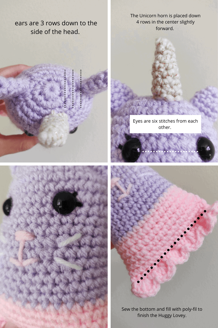 Embroidery reference guide to crochet unicorn kitty/