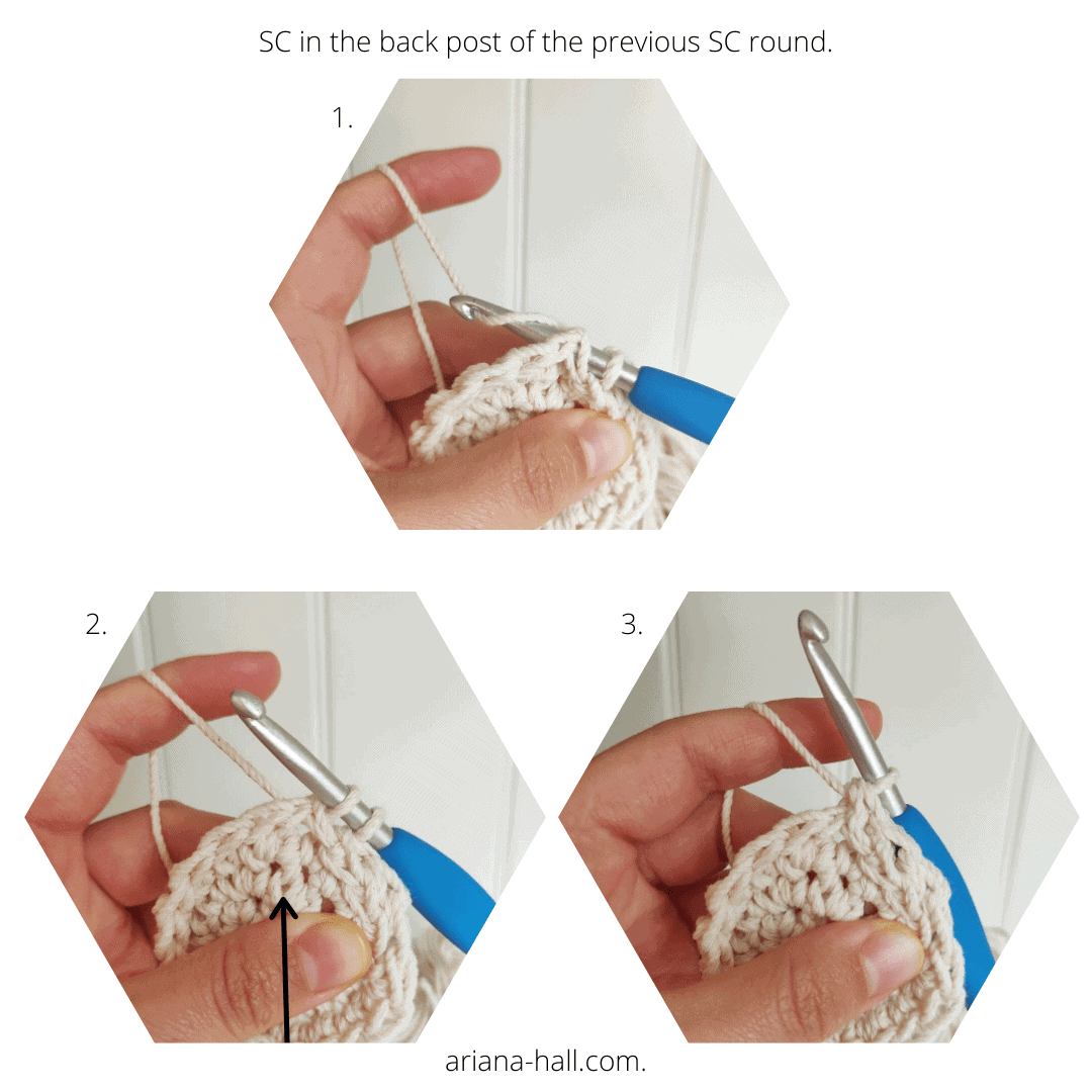 Single crochet in the back post photo reference.