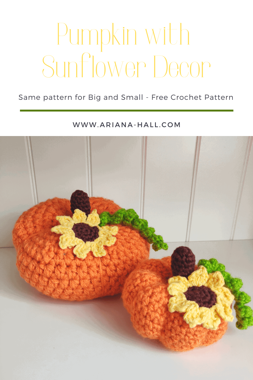 Crochet pumpkin with sunflower pattern by ariana hall