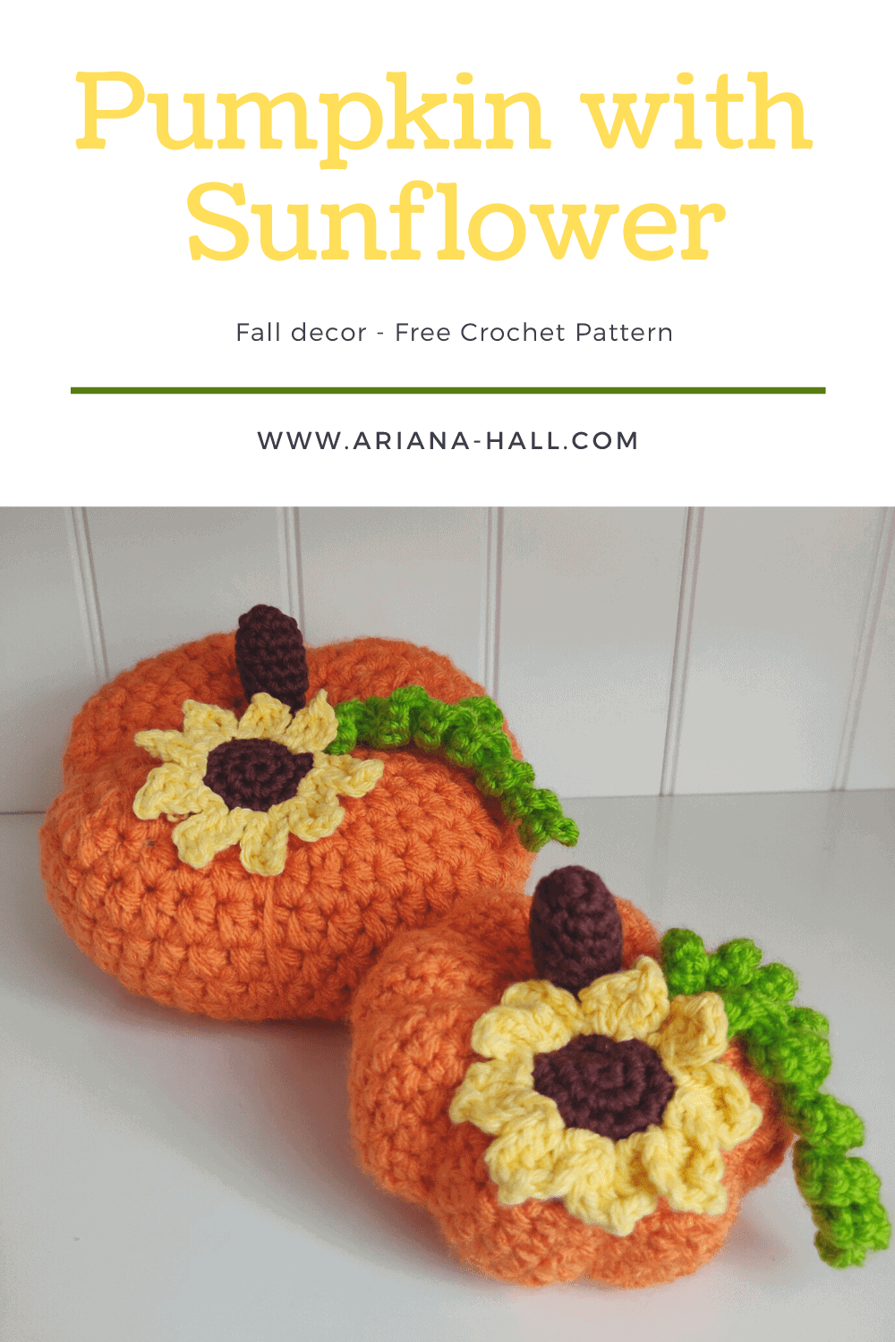 Crochet pumpkin with sunflower and vines