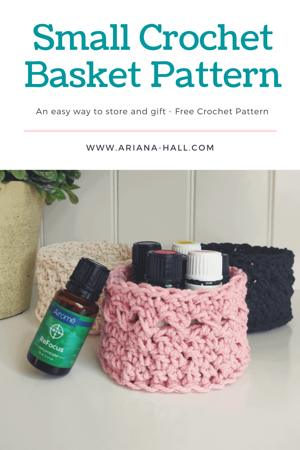 Crochet basket with essential oils inside.
