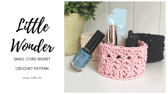 Crochet pink basket with nail polish and self care.