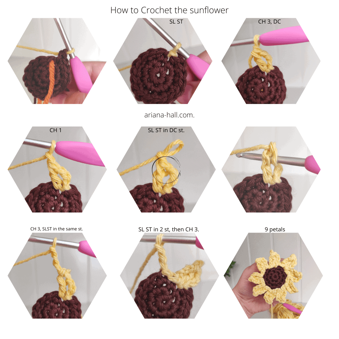 Steps to crochet a flower