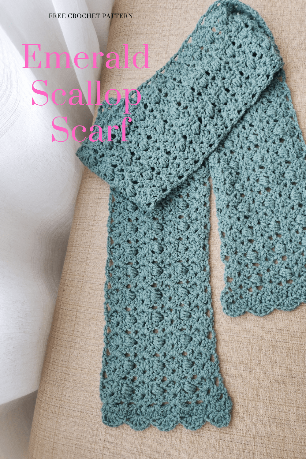 Emerald crochet scarf on a bench