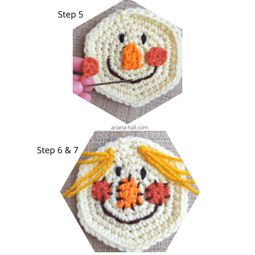how to crochet scarecrow cheeks and hair