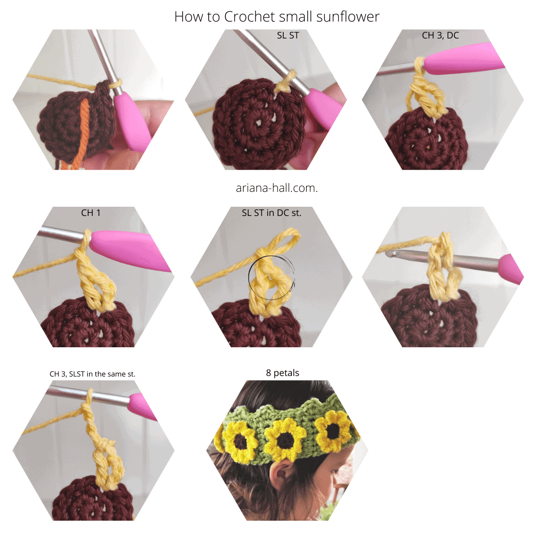 steps to crochet a sunflower