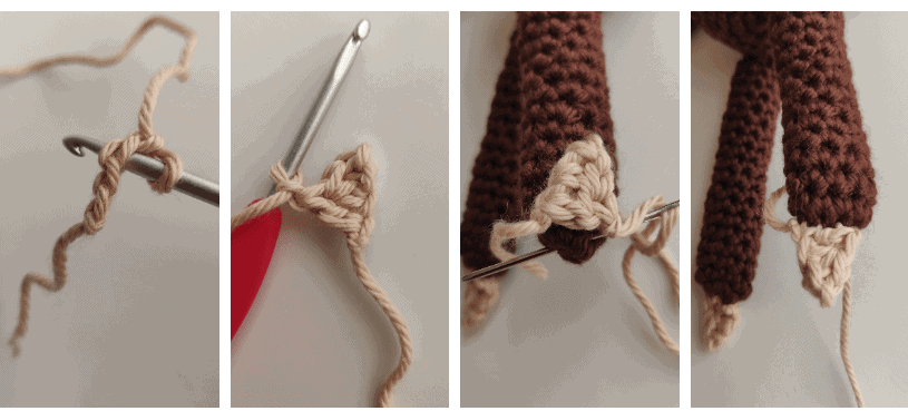 Slothe claws attached to crochet legs.