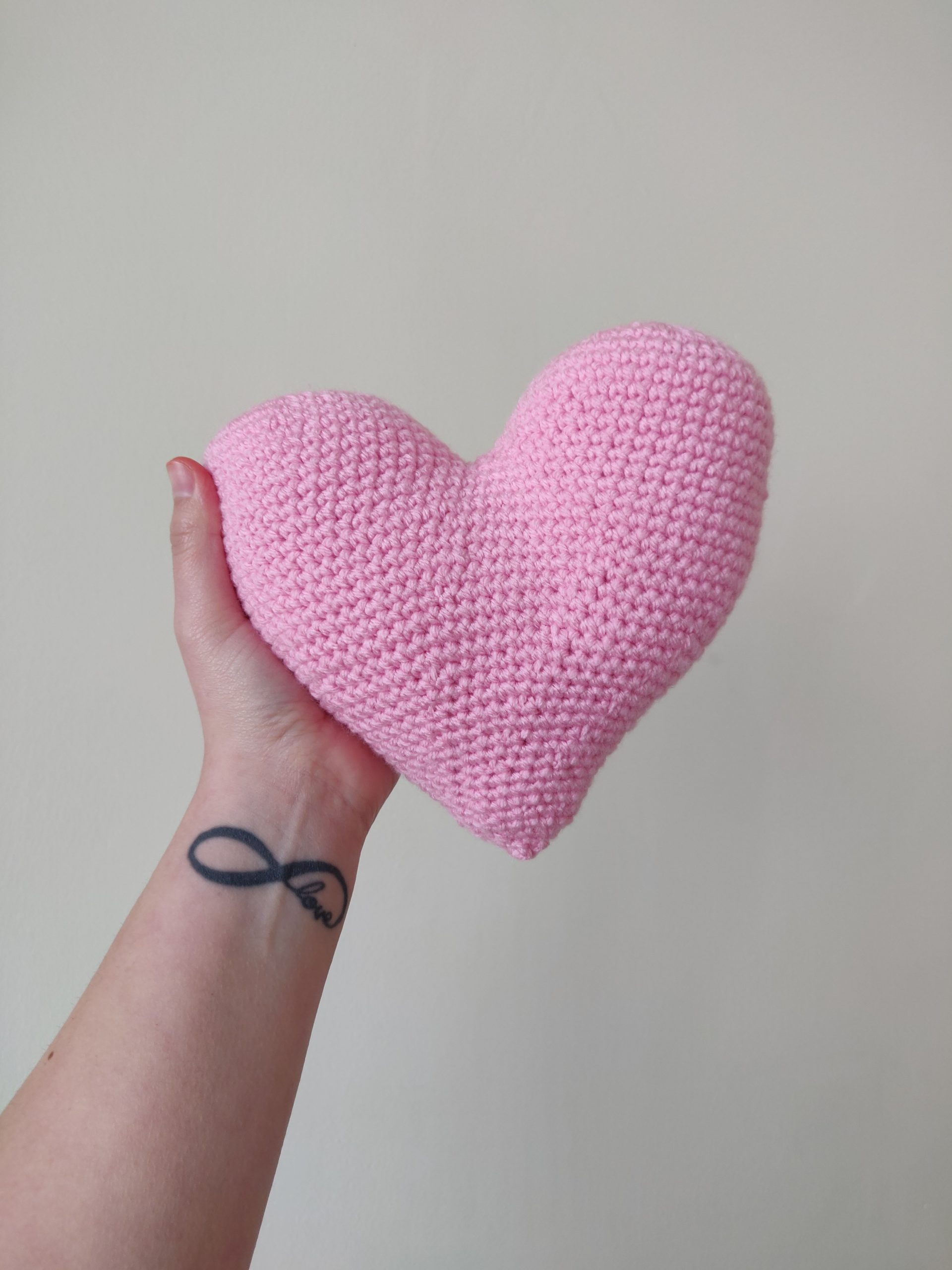 Finished pink crochet heart