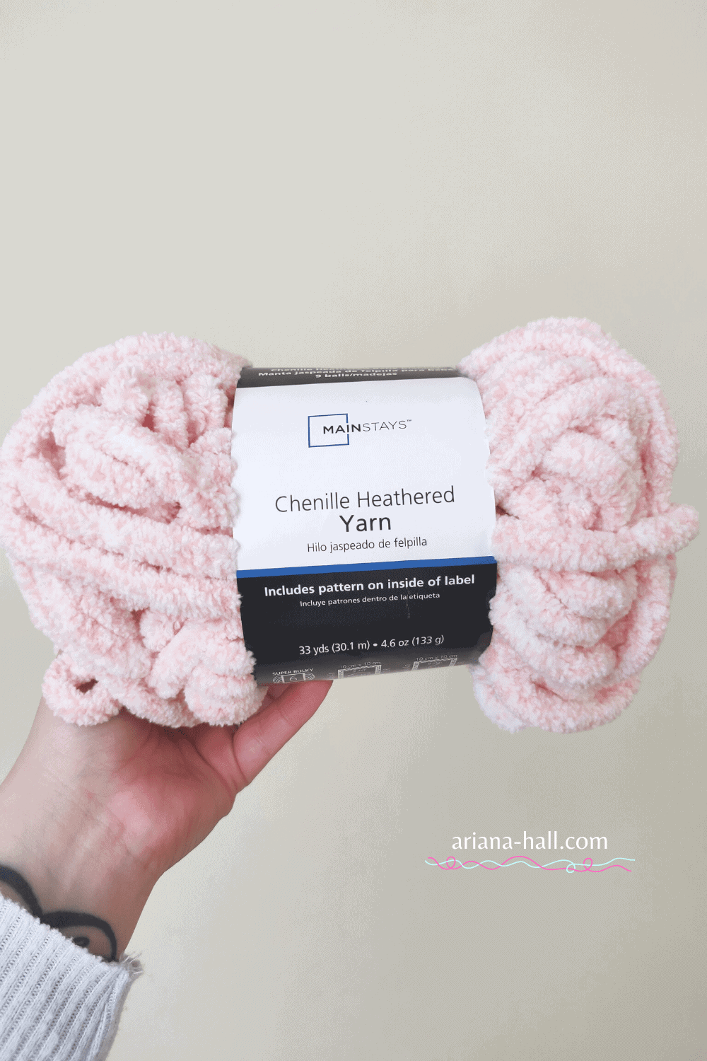 Chenille Heathered Pink Yarn from Walmart