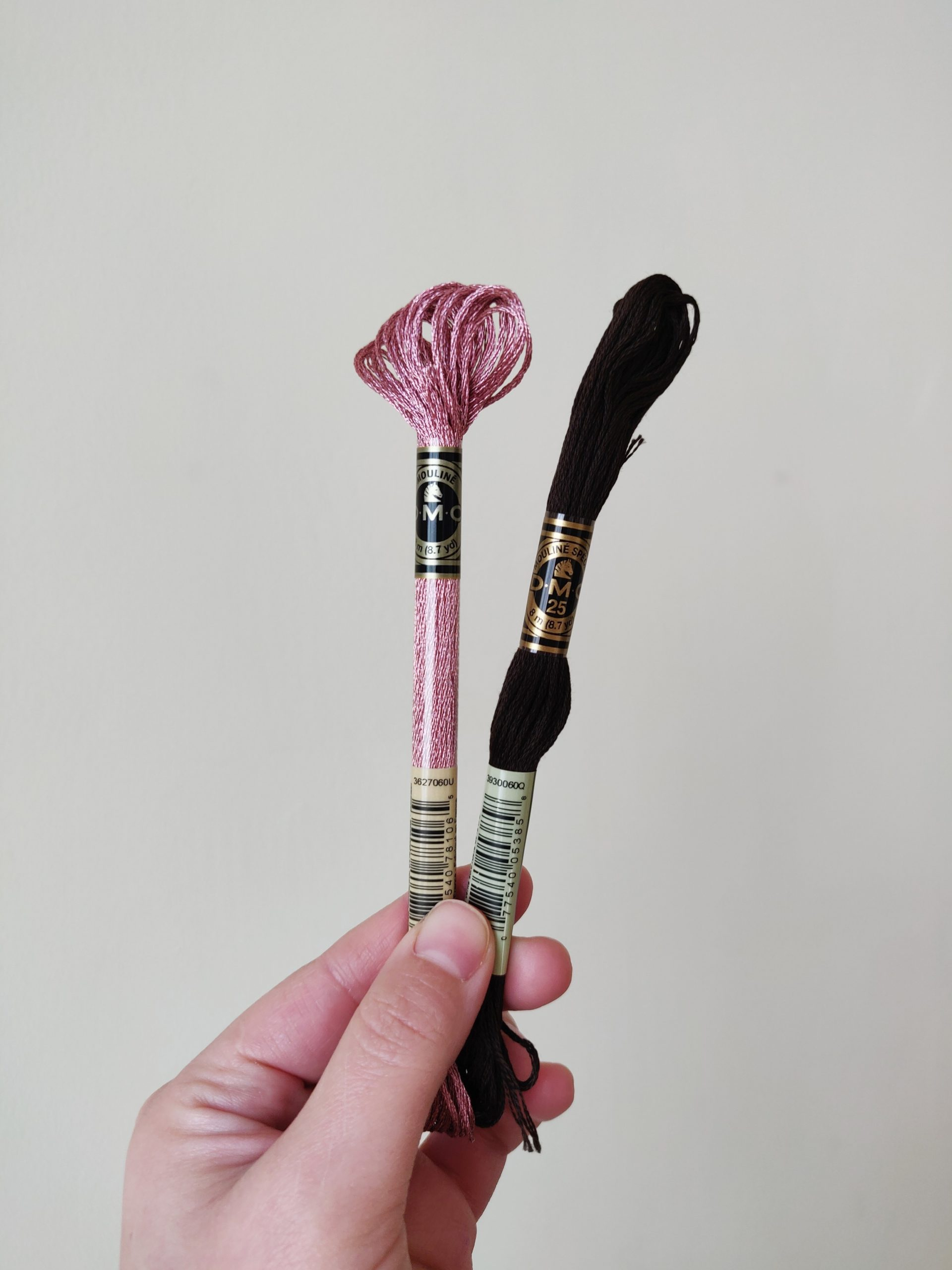 Pink metallic and black/brown embroidery thread.