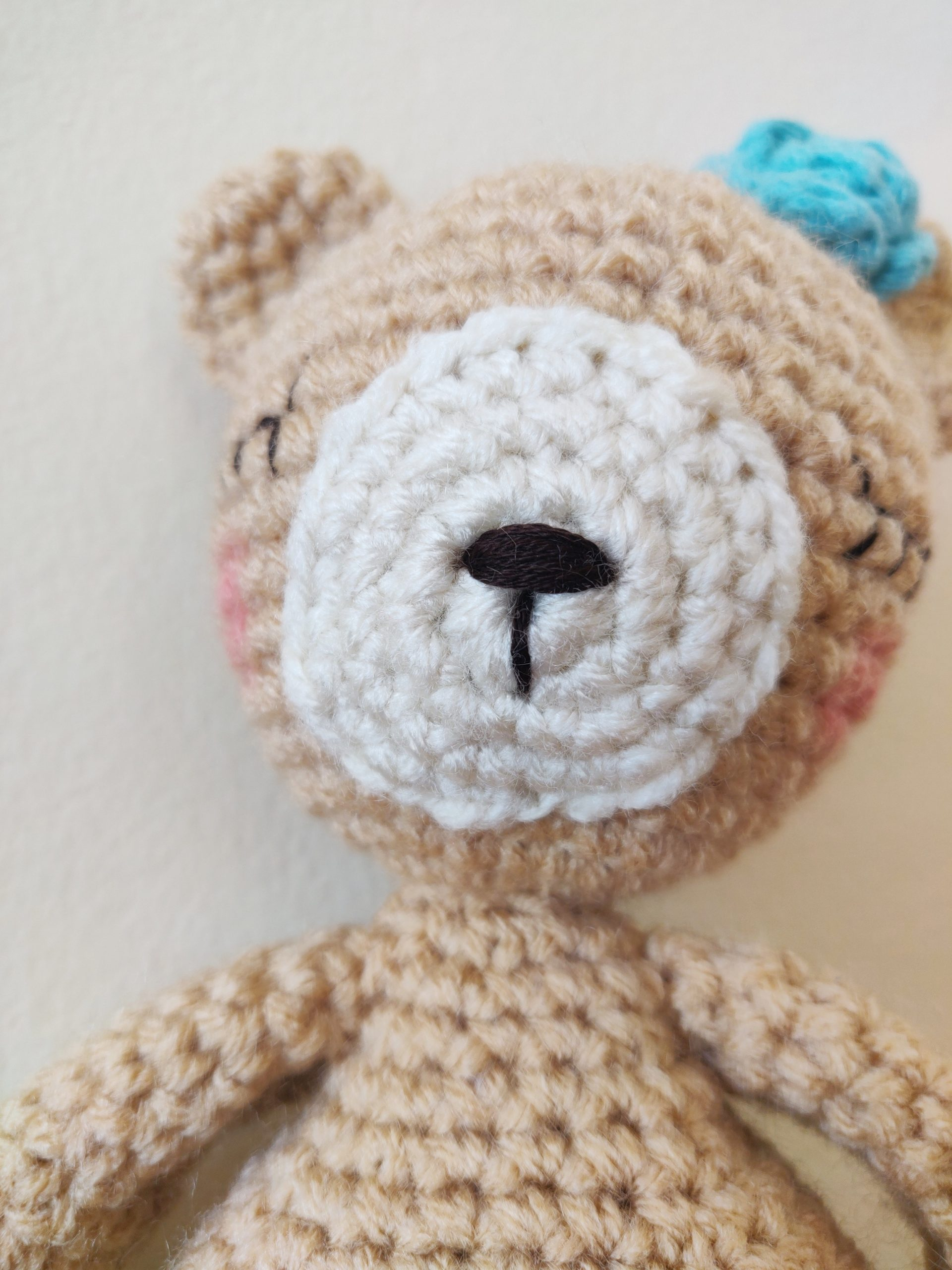 Crochet brown bear mouth and nose