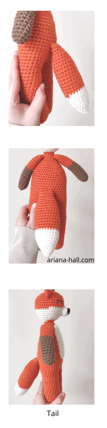 Crochet foz in three different angles with tail.