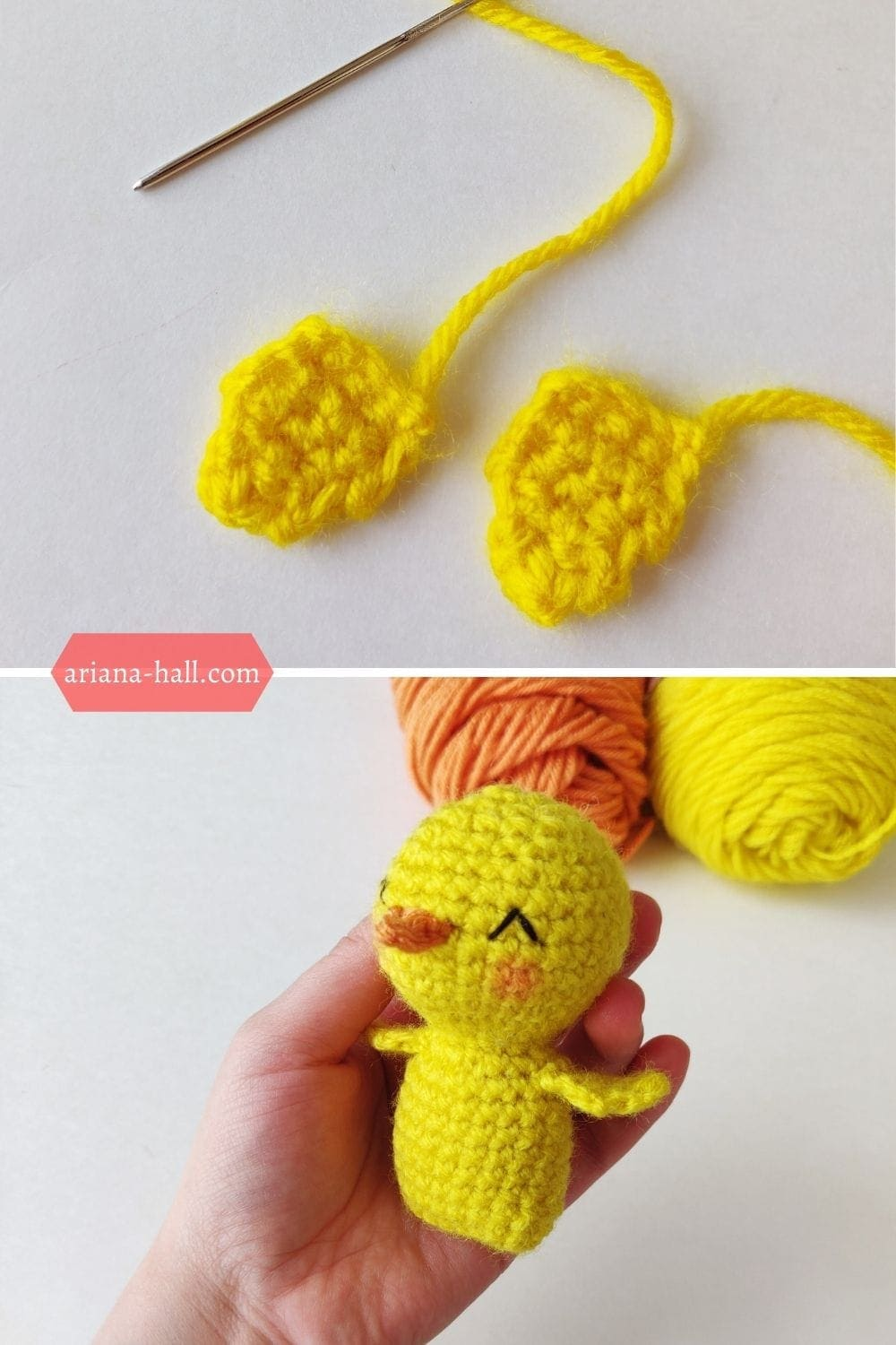 Crochet yellow chick with wings