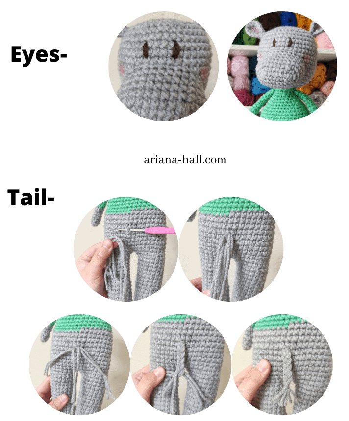 Assembling process for a crochet hippo. Eyes and the tail.