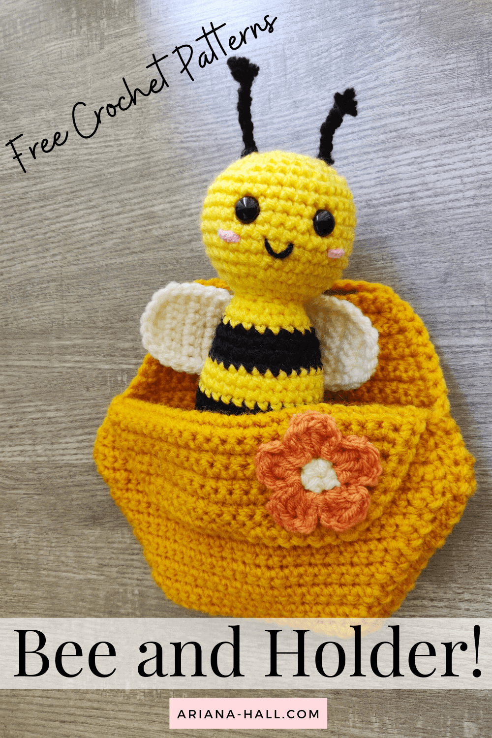 Black and yellow crochet bumble bee in a honeycomb wall hanging.