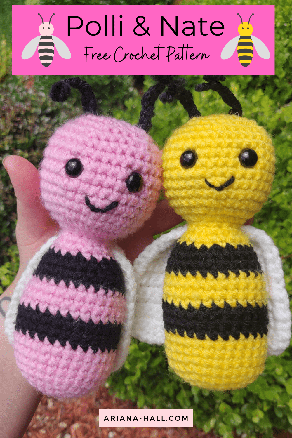 pink and yellow crochet bumble bees.