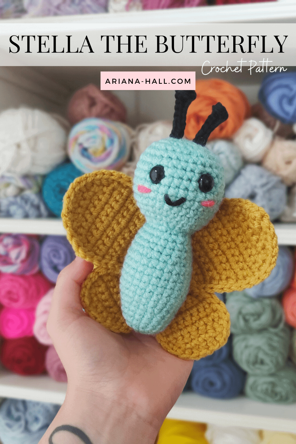 Blue and gold small crochety butterfly.