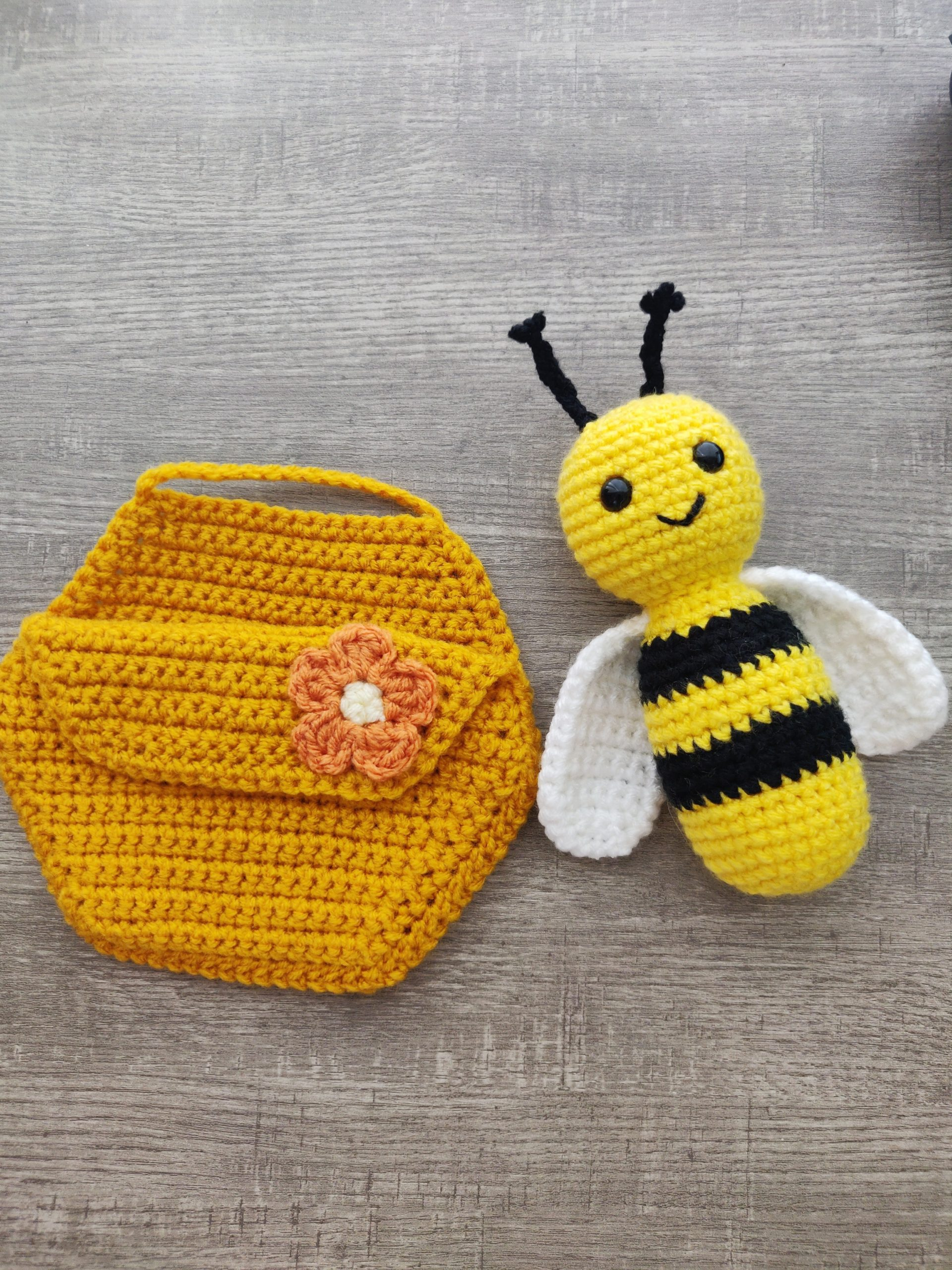 Crochet honey comb and yellow and black bee by ariana hall